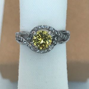 Size 5.5 Yellow Crystal Ring With Box & Free Gift
